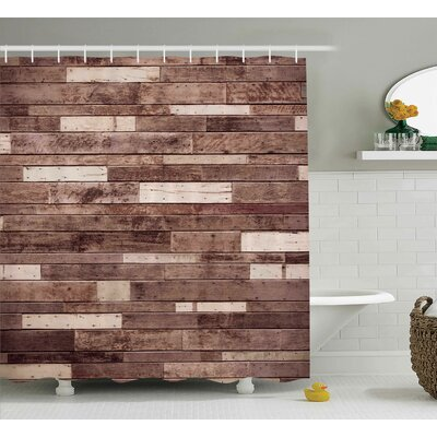 Wooden Brown Farmhouse Style Shower Curtain Size: 69 W x 70 L