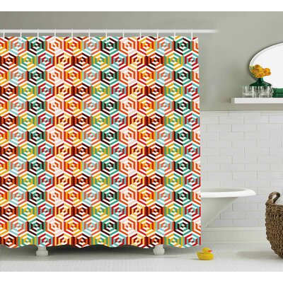 Hiedi Hexagonal Shape Retro Print Shower Curtain Size: 69