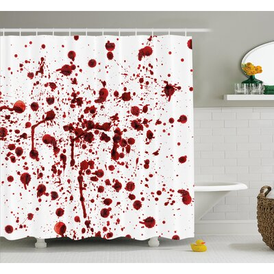 Bloody Splashes of Blood Scary Shower Curtain Size: 69 W x 75 L
