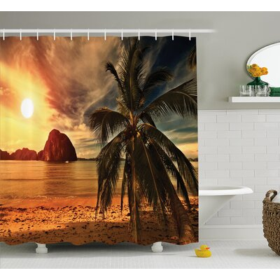 Tropic Coconut Palm Tree Beach Shower Curtain Size: 69 W x 75 L