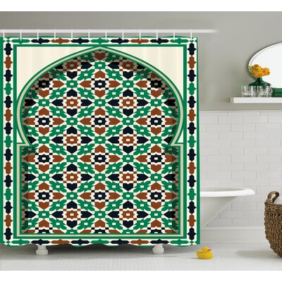 Askham Moroccan Arch with Floral Shower Curtain Size: 69 W x 84 L