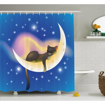 Nursery Cute Baby Kids Cat Shower Curtain Size: 69 W x 75 L
