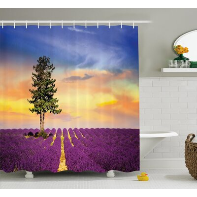 Lavender French Countryside Shower Curtain Size: 69 W x 70 L