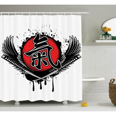 Japanese Crossed Samurai Sword Shower Curtain Size: 69 W x 70 L
