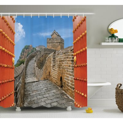China Asian Silk Road Tower Shower Curtain Size: 69 W x 70 L