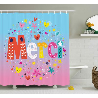 Jamel French Decor with Hearts Shower Curtain Size: 69 W x 75 L