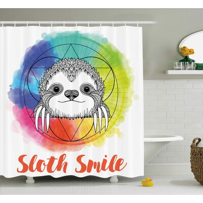 Estes Rainbow Sloth Sketch Shower Curtain Size: 69 W x 70 L