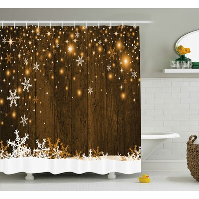 Barker Wood and Snowflakes Shower Curtain Size: 69 W x 70 L