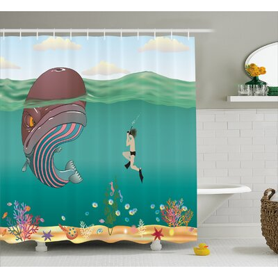 Ocean Shells Whale with Scuba Shower Curtain Size: 69 W x 75 L