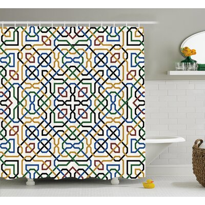 Damiana Arabic Marrakesh Motif Shower Curtain Size: 69 W x 75 L
