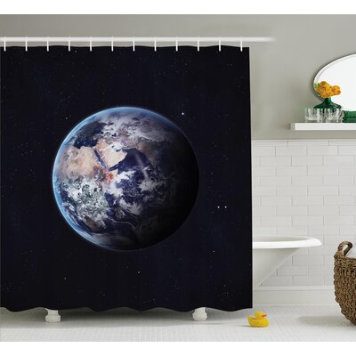 Planet Outer Space Scene Shower Curtain Size: 69 W x 70 L