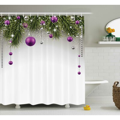 Christmas Tree Decorations Shower Curtain Size: 69 W x 75 L