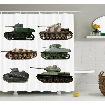 Fabric Second World War Tanks Shower Curtain Size: 69 W x 75 L