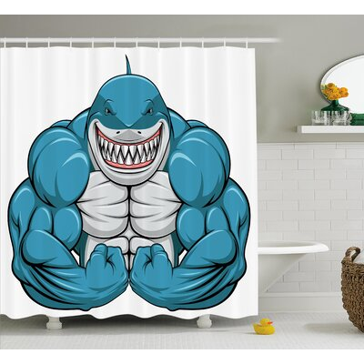 Maribel Toothy White Shark Smiling Shower Curtain Size: 69 W x 84 L