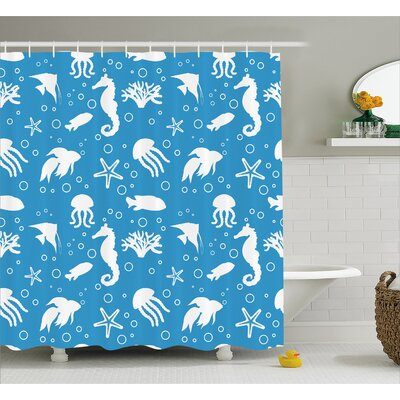 Roxanna Navy Seahorse Pipefish Shower Curtain Size: 69 W x 70 L