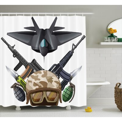 Fabric War Battle Soldier Jet Shower Curtain Size: 69 W x 84 L