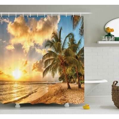 Tropical Exotic Sandy Beach Shower Curtain Size: 69 W x 70 L