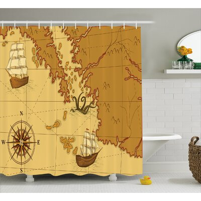 Zofia Old Map with Ship Compass Shower Curtain Size: 69 W x 75 L