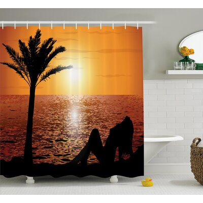 Beach Sexy Girl with Sunset Shower Curtain Size: 69 W x 84 L