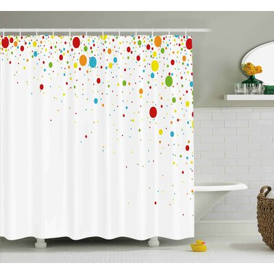 Kirk Spots Like Confetti Shower Curtain Size: 69 W x 84 L