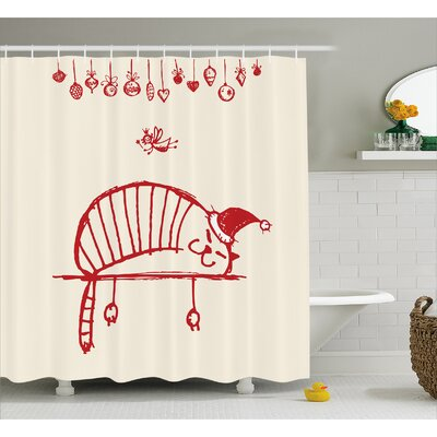 Christmas Sleeping Cat Fairy Shower Curtain Size: 69 W x 70 L