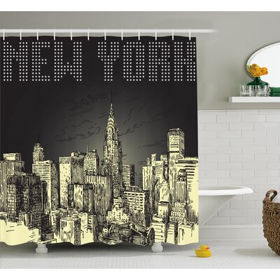 Bequette Grunge Empire State NYC Shower Curtain Size: 69 W x 84 L