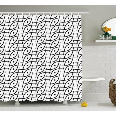 Charlton Trippy Leaf Spots Shower Curtain Size: 69 W x 75 L