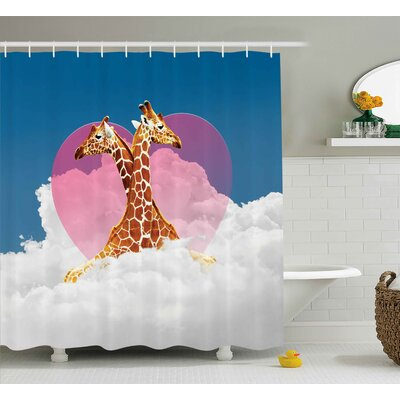 Francina Romantic Giraffes Cloud Shower Curtain Size: 69 W x 75 L