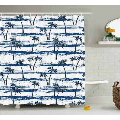 Aralene Romantic Sea and Palm Shower Curtain Size: 69 W x 84 L