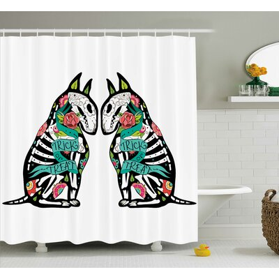 Abstract Art Skeleton Demon Shower Curtain Size: 69 W x 70 L