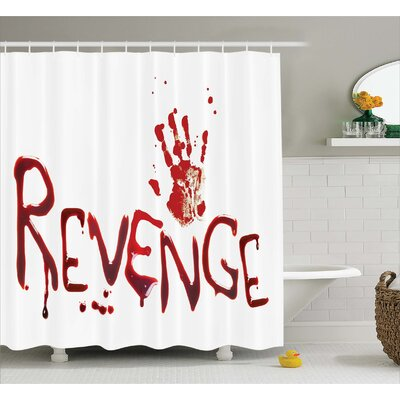 Bloody Handprint with Blood Shower Curtain Size: 69 W x 70 L