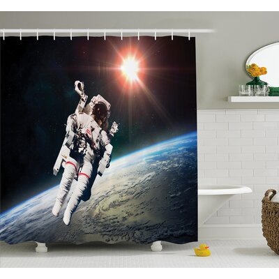 Astronaut with Sun Beams Shower Curtain Size: 69 W x 75 L