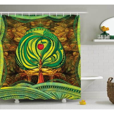 Avaline Vivid Apple Tree Lines Print Shower Curtain Size: 69 W x 84 L