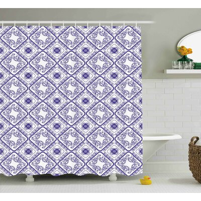 Darcio Art and Craft Flower Print Shower Curtain Size: 69 W x 75 L