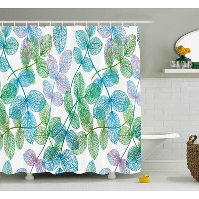 Keaton Flowers Leaves Ivy Ombre Shower Curtain Size: 69 W x 70 L