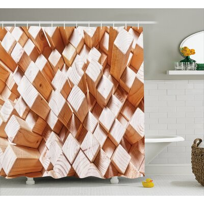 Geometric Natural Wood Rustic Shower Curtain Size: 69 W x 70 L