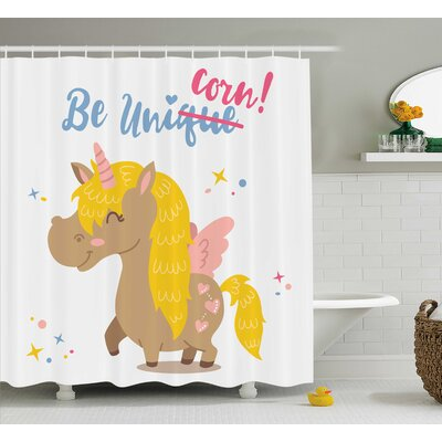 Axel Funny Kids Quote Vivid Shower Curtain Size: 69 W x 84 L