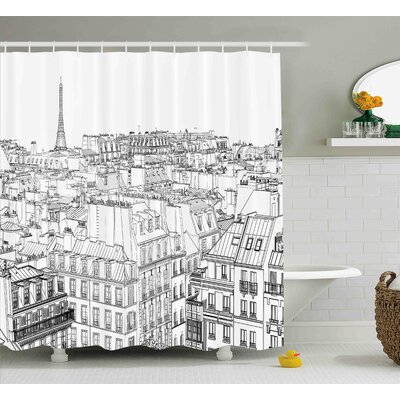Blondelle Paris Roofs Shower Curtain Size: 69 W x 75 L