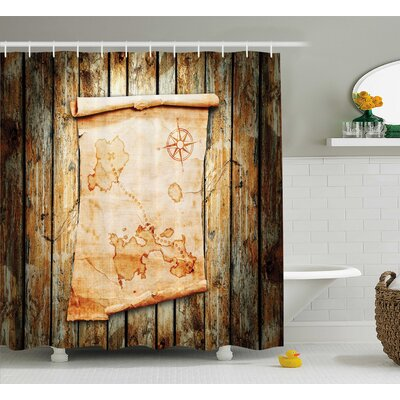 Fabric Map on Grunge Timber Shower Curtain Size: 69 W x 70 L