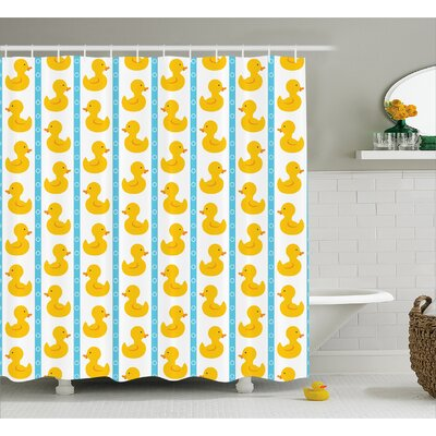Jaleel Duck Baby Blue Stripes Shower Curtain Size: 69 W x 84 L