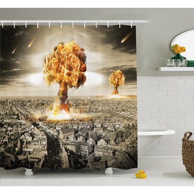 Brunelle Yellow Gray Nuclear Bomb Shower Curtain Size: 69 W x 84 L