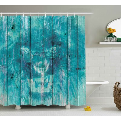 Retro Wooden King Lion Decor Shower Curtain Size: 69 W x 75 L