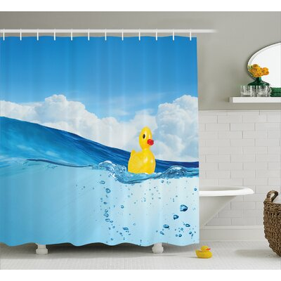 Rubber Duck Swimming in Pool Shower Curtain Size: 69 W x 84 L