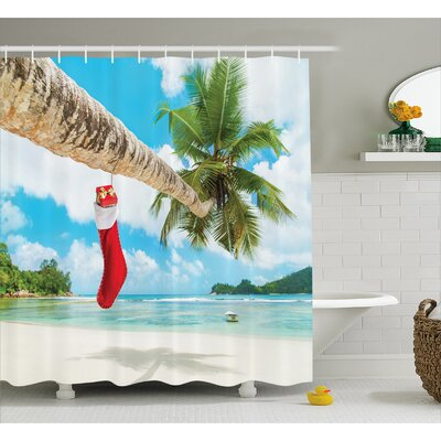 Christmas Beach Xmas Stockings Shower Curtain Size: 69 W x 84 L