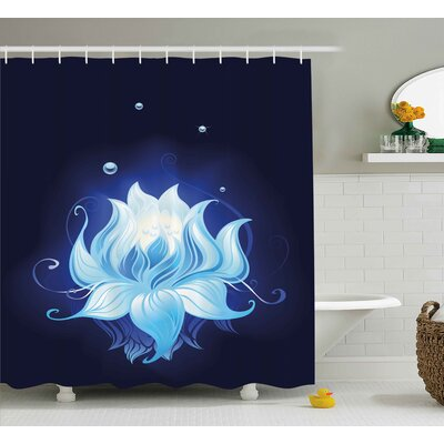 Becerra Zen Lotus with Dew Drops Shower Curtain Size: 69 W x 75 L