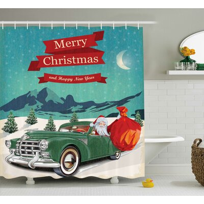 Christmas Santa in Classic Car Shower Curtain Size: 69 W x 70 L