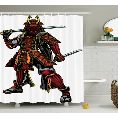 Japanese Samurai Swords War Shower Curtain Size: 69 W x 84 L