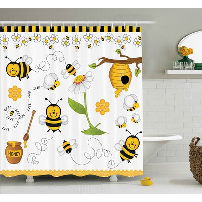 Luna Bees Daisies Chamomile Shower Curtain Size: 69 W x 70 L