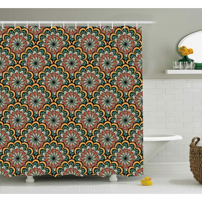 Bautista Indian Moroccan Wave Print Shower Curtain Size: 69 W x 84 L