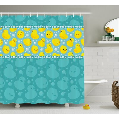 Stephen Duck Fun Aqua Bubbles Shower Curtain Size: 69 W x 84 L